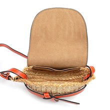 Load image into Gallery viewer, Full-grain Smooth Leather/ Straw Crossbody Bag With Bow Accent
