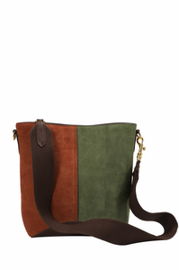 Two-tone Suede Hobo Bag