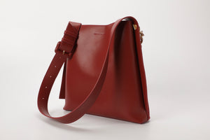 Suede Flat-back Messenger Bag