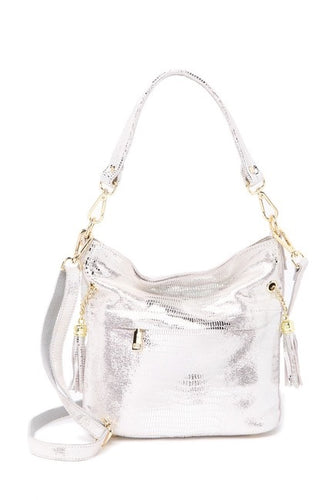Lizard Embossed Leather Shoulder Bag