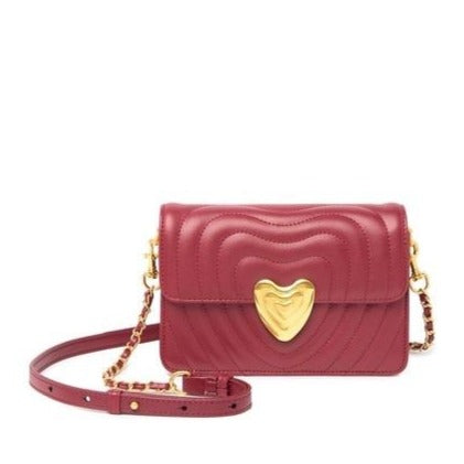 Quilted Leather Heart Clasp Crossbody Bag