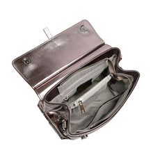Load image into Gallery viewer, Metallic Flap Leather Satchel