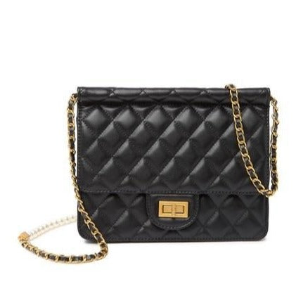 Faux Pearl Embellished Quilted Lambskin Crossbody Bag