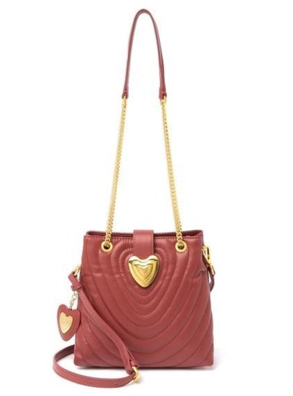 Quilted Leather Heart Strap Tote