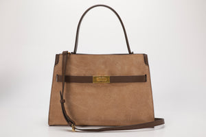 Suede Double Compartment Satchel Bag