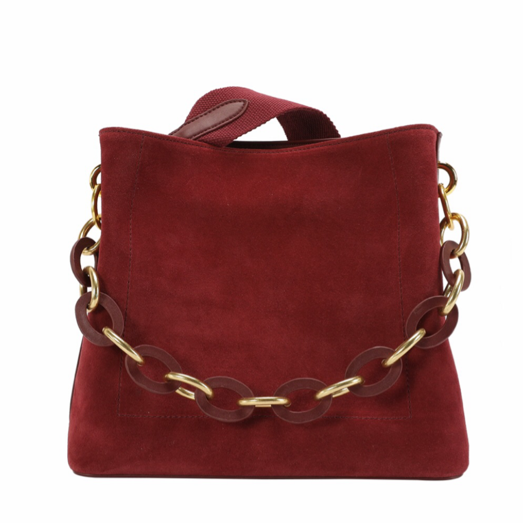 Suede Messenger Bag With Decorative Chain