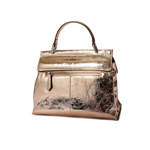 Metallic Flap Leather Satchel