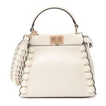 Fandolina Faux Pearl Studded Nappa Leather Satchel
