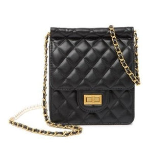 Faux Pearl Embellished Quilted Lambskin Shoulder Bag