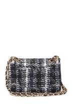 Load image into Gallery viewer, Leather Chain Trimmed Tweed Shoulder Bag