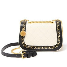 Load image into Gallery viewer, Two-Tone Quilted Leather Chain Trimmed Crossbody Bag