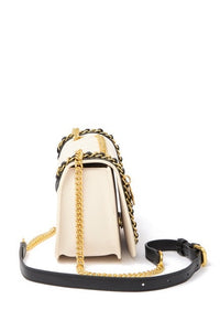 Two-Tone Quilted Leather Chain Trimmed Crossbody Bag