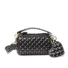 Load image into Gallery viewer, Quilted Studded Lambskin Barrel Crossbody Bag