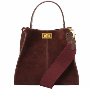 Suede Double Compartment Shoulder Bag