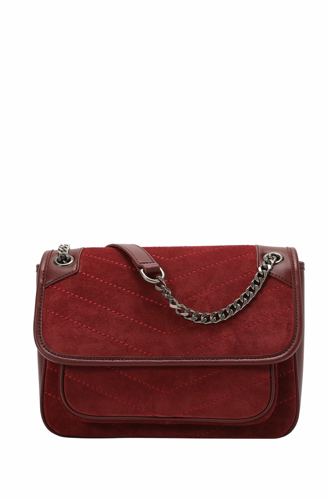 Quilted Suede Flap Shoulder Bag