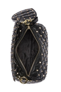 Quilted Studded Lambskin Barrel Crossbody Bag