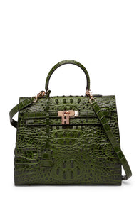 Alligator Embossed Leather Satchel