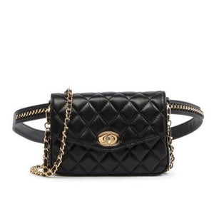 Quilted Convertible Leather Belt Bag