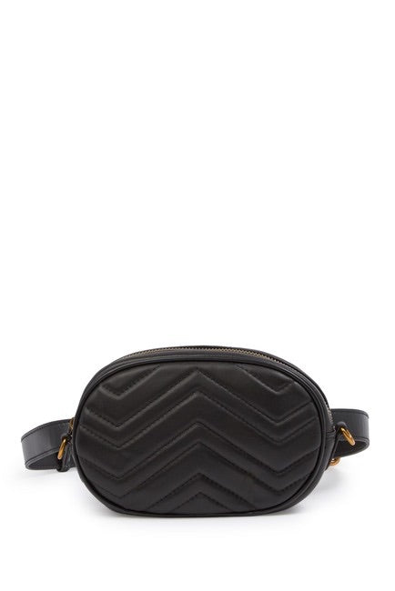 Quilted Chevron Leather Belt Bag