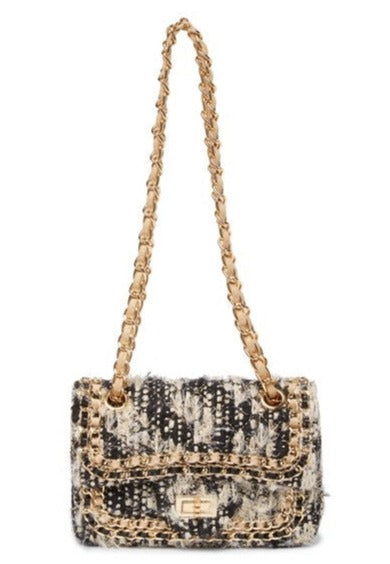 Leather Chain Trimmed Tweed Shoulder Bag