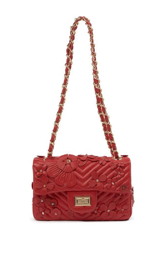 Flower Detailed Quilted Leather Shoulder Bag