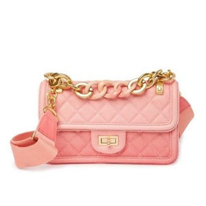 Novelty Strap Quilted Faded Leather Shoulder Bag