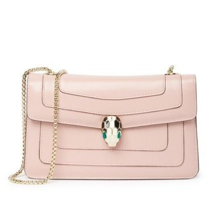 Snake Buckle Nappa Leather Flap Shoulder Bag