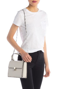 Studded Lambskin Leather Satchel