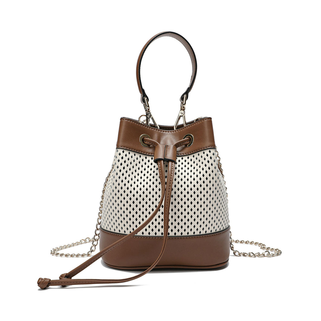 Perforated Smooth Leather Drawstring Bag