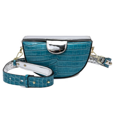 Load image into Gallery viewer, Alligator Embossed Leather Shoulder/ Messenger Trio-colored Bag