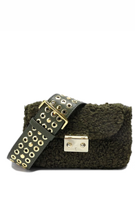Wool-shearling Flap Shoulder Bag