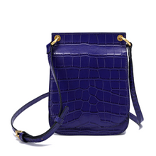 Load image into Gallery viewer, Alligator Embossed Leather Flap-over Shoulder/ Crossbody Bag