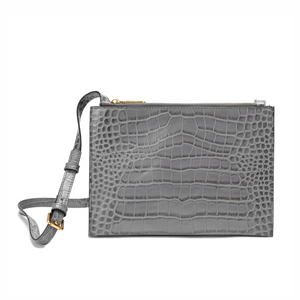 Alligator Embossed Leather Messenger/ Shoulder Bag
