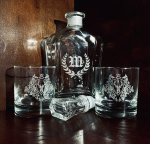 Custom Laser Etched Decanter with Glasses