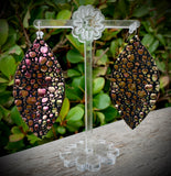 Dragon Scales Eclipse Leather Earrings- 3""