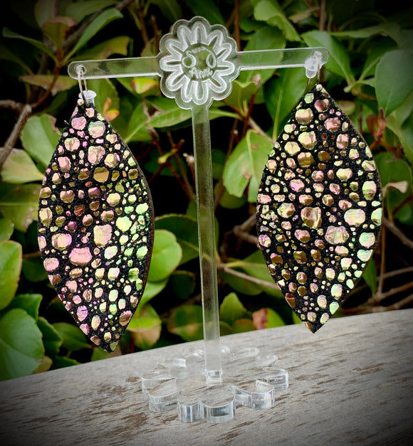 Dragon Scales Eclipse Leather Earrings- 3