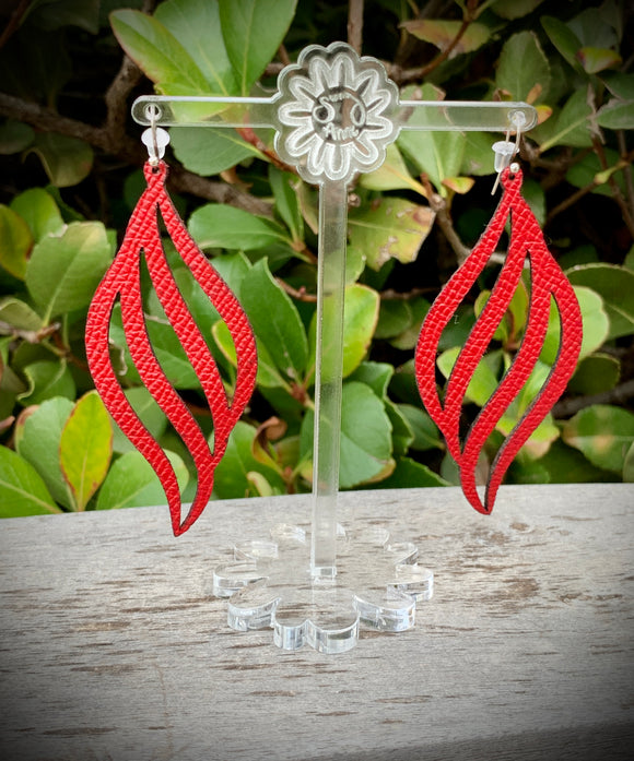 Red Wave Leather Earrings- 3