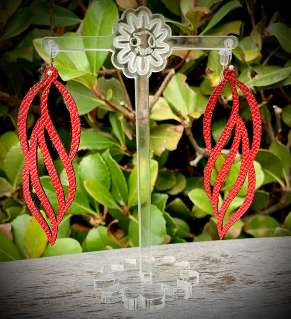 Red Dreamcatcher Leather Earrings- 3