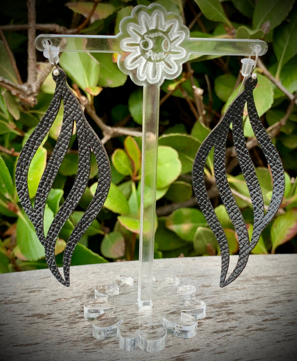 Black Wave Leather Earrings- 3