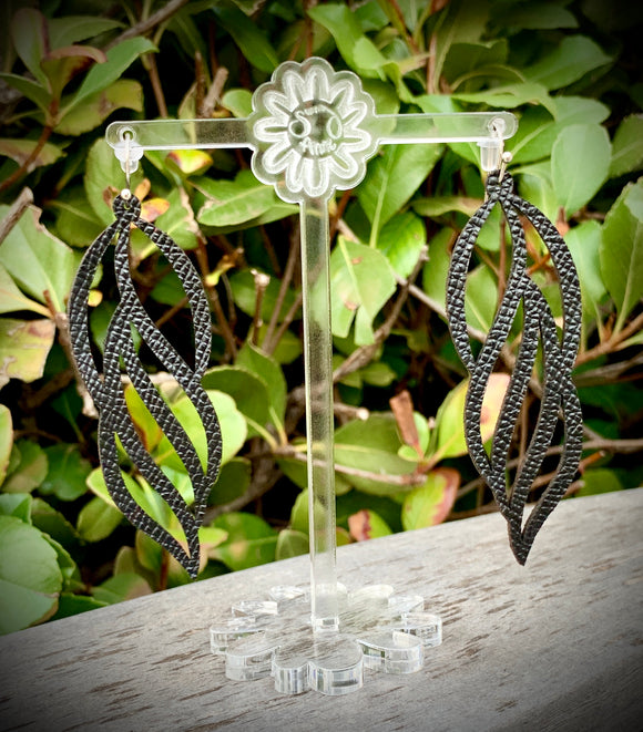 Black Dreamcatcher Leather Earrings- 3