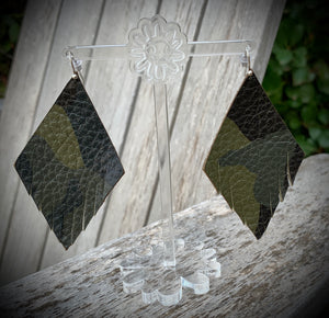 Camo Feather Eclipse Leather Earrings- 3""