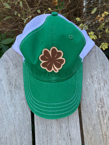 Four Leaf Clover Leather Patch Cap