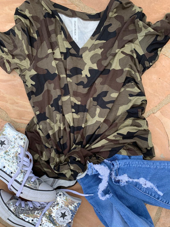 Camo V-Neck Round Hem Top