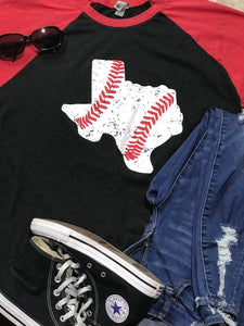 Texas Baseball Shirt on 3/4 Sleeve Baseball Raglan Tee