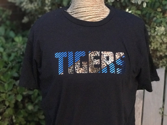 Shimmery School Spirit Shirt with Leopard!!  Choose your mascot and accent color!