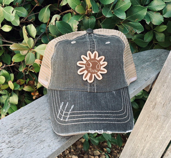 Women's Distressed Cap with Leather Patch - Multiple Color and Patch Options