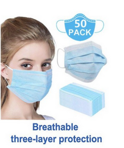 3 Ply Disposable Masks - 50 pack