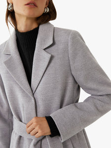 Ex Warehouse Clean Belted Coat Jacket Tan / Grey