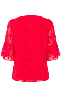 Ex Bon Marche Red Textured Fluted Sleeve Top