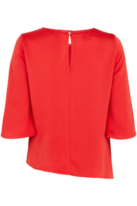 Ex Bon Marche Plus Size Red Knot Detail Top with Split Sleeves